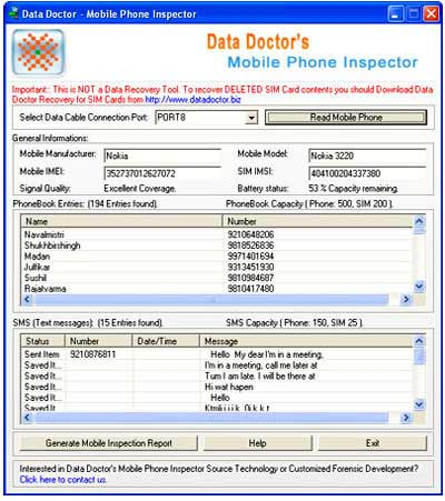 Mobile Phone Investigation Software