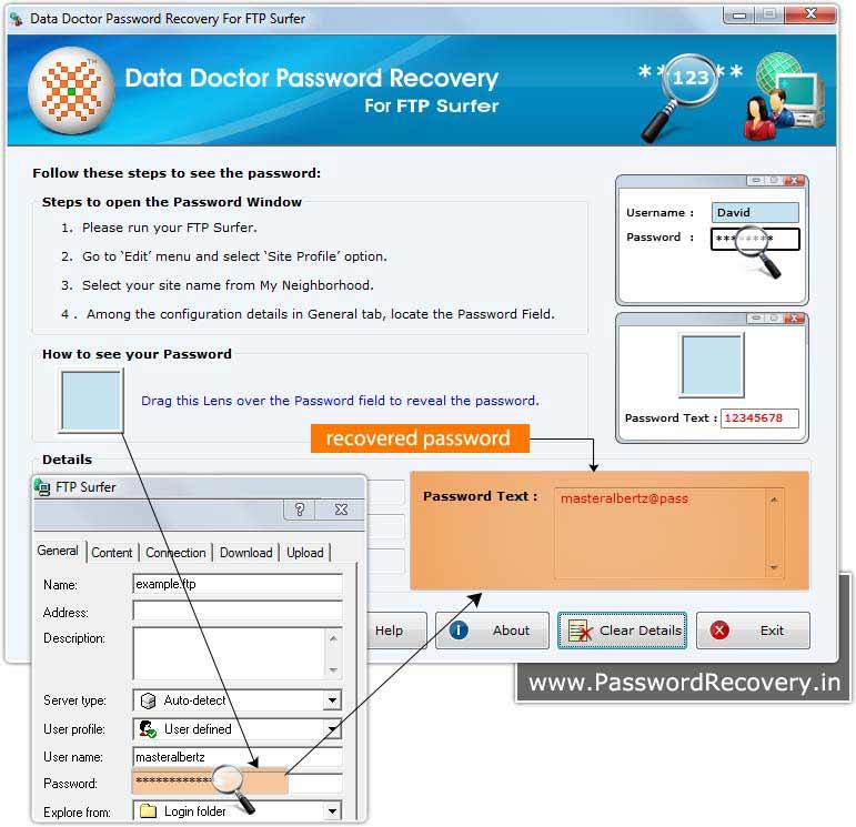 FTP password decryptor to view lost password